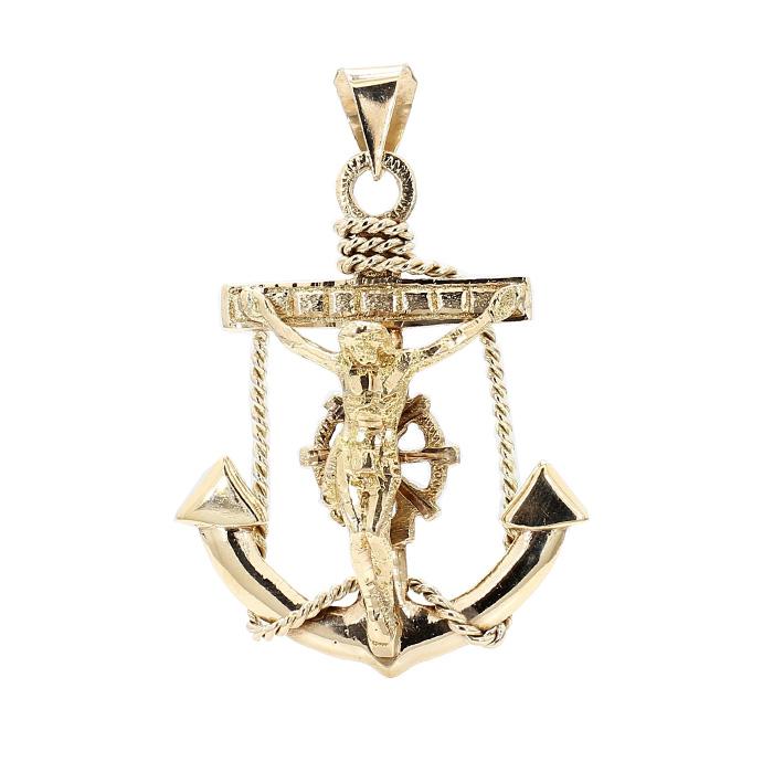 NAUTICAL ANCHOR SHIP WHEEL MARINERS CROSS- 10K YELLOW GOLD| 14.9G| LENGTH 59MM| WIDTH 40.76MM