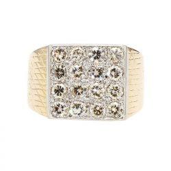 "MENS DIAMOND RING- 18K GOLD| 11.8G| 2.00CT TDW- H/SI_ SIZE 7"""