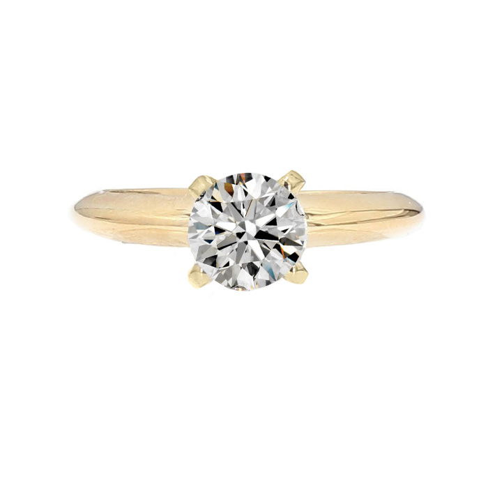 SOLITAIRE DIAMOND ENGAGEMENT RING- 14K GOLD| 2.9G| 0.74CT TDW- F-G/SI1| SIZE 3.75""