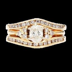 "DIAMOND BRIDAL SET- 14K YELLOW GOLD  0.50CT(C)  1.25CT TDW- H/I1  SIZE 5.25"""