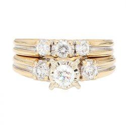 "DIAMOND BRIDAL SET- 14K YELLOW GOLD| 0.75CT TDW| SIZE 5.25"""