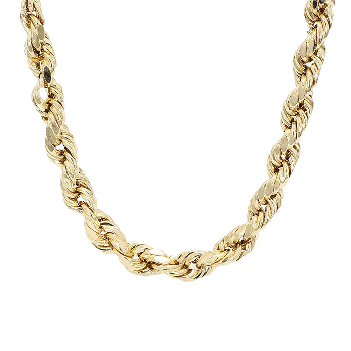 """10K YELLOW GOLD HOLLOW ROPE NECKLACE  13.8G  LENGTH 26"""" WIDTH 5.30MM"""