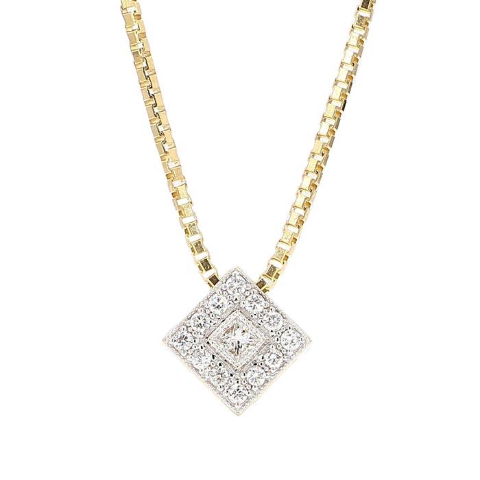 "DIAMOND PENDANT AND BOX CHAIN- 14K GOLD  0.55CT TDW  LENGTH 20"""