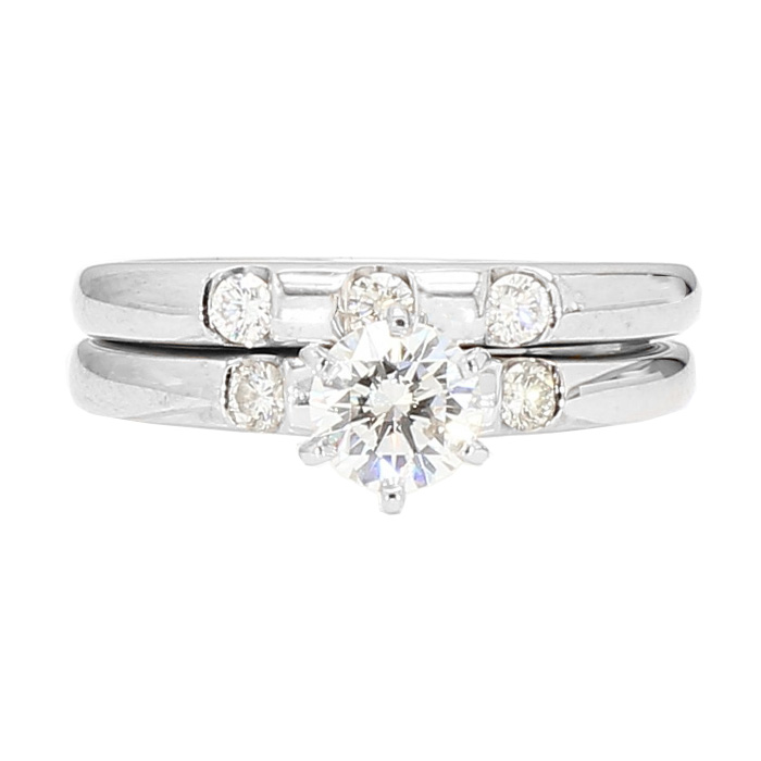 "DIAMOND BRIDAL SET- 14K WHITE GOLD| 0.50CT(C)| 0.65CT TDW| SIZE 4.50"""