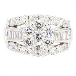 "DIAMOND BRIDAL SET- 14K WHITE GOLD| 13.3G| 3.00CT TDW| SIZE 8.50"""