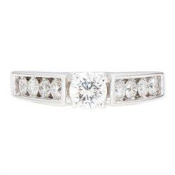 "DIAMOND ENGAGEMENT RING- 14K WHITE GOLD| 0.34CT(C)| 0.81CT TDW| SIZE 6.25"""