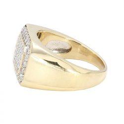 "DIAMOND MENS RING- 10K YELLOW GOLD| 7.7G| 1.00CT TDW| SIZE 9.75"""