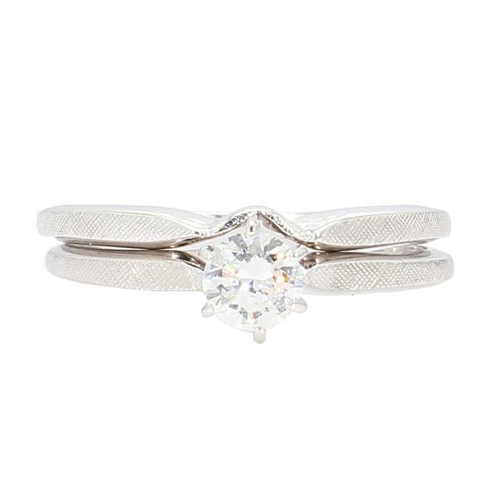 "DIAMOND BRIDAL SET- 14K WHITE GOLD  3.6G  0.35CT TDW  SIZE 6.25"""