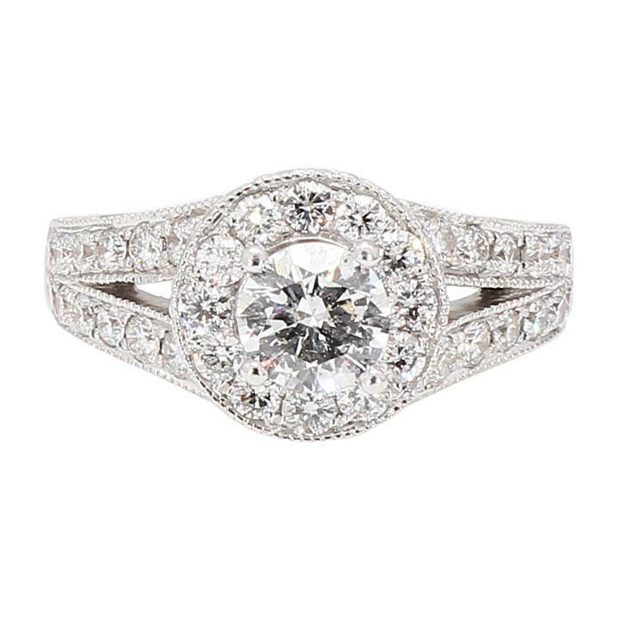 "DIAMOND ENGAGEMENT RING- 14K WHITE GOLD| 2.00CT TDW| SIZE 5.50"""