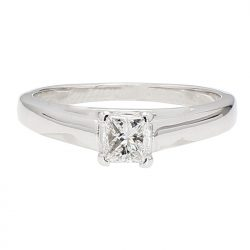 SOLITAIRE DIAMOND ENGAGEMENT RING- 14K WHITE GOLD| 0.46CT TDW| SIZE 8""