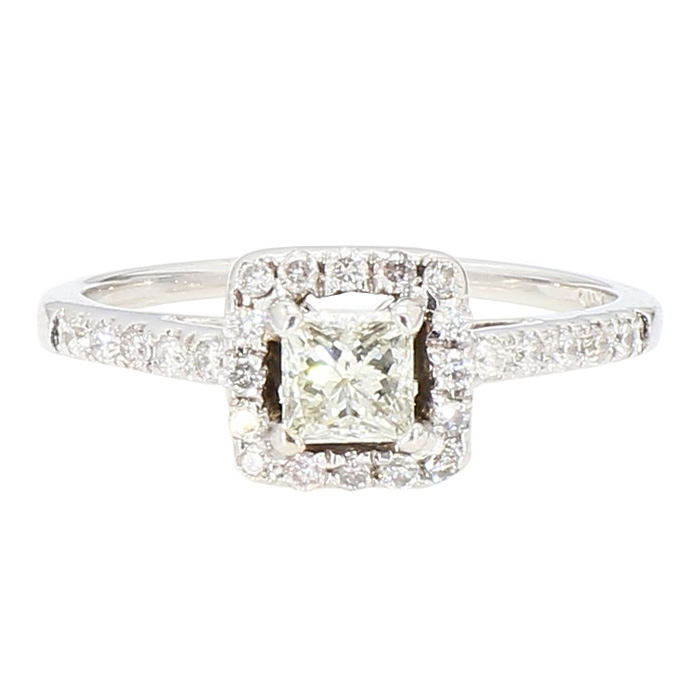 DIAMOND ENGAGEMENT RING- 14K WHITE GOLD| 0.75CT TDW| SIZE 6.75""