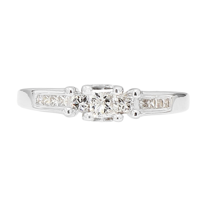 "DIAMOND ENGAGEMENT RING- 14K WHITE GOLD| 0.55CT TDW| SIZE 8.25"""