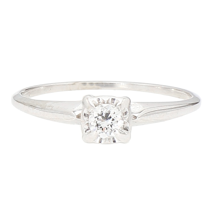 DIAMOND RING- 14K WHITE GOLD| 0.15CT TDW| SIZE 8.50""