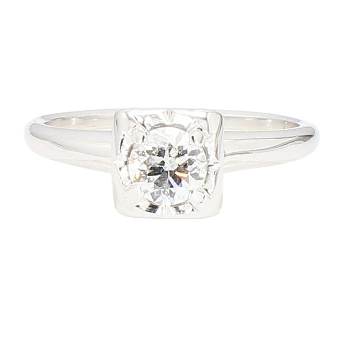"""DIAMOND ENGAGEMENT RING- 14K WHITE GOLD