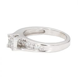 """SOLITAIRE DIAMOND ENGAGEMENT RING- 10K WHITE GOLD