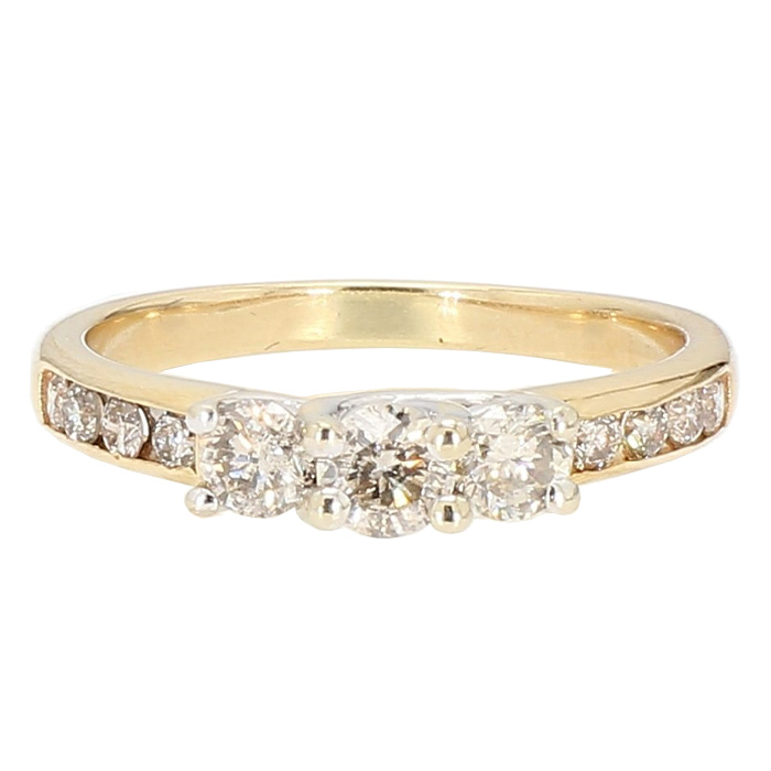 "DIAMOND ENGAGEMENT RING- 10K YELLOW GOLD| 3.0G| 1.00CT TDW| SIZE 8"""