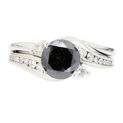 "DIAMOND BRIDAL SET- 14K WHITE GOLD| 1.80CT(C) BLACK DIAMOND| 2.25CT TDW| SIZE 6.75"""