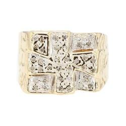 "MENS DIAMOND RING- 10K YELLOW GOLD  8.9G  SIZE 7.50"""