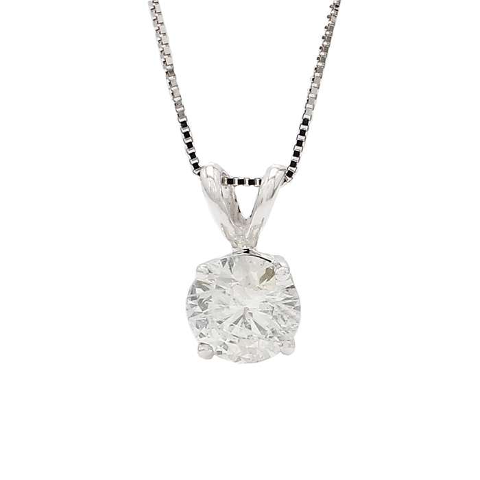 """SOLITAIRE DIAMOND PENDANT WITH BOX CHAIN -14K GOLD