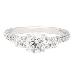 "DIAMOND ENGAGEMENT RING- 14K WHITE GOLD| 0.85CT(C)| 1.35CT TDW| SIZE 6.50"""