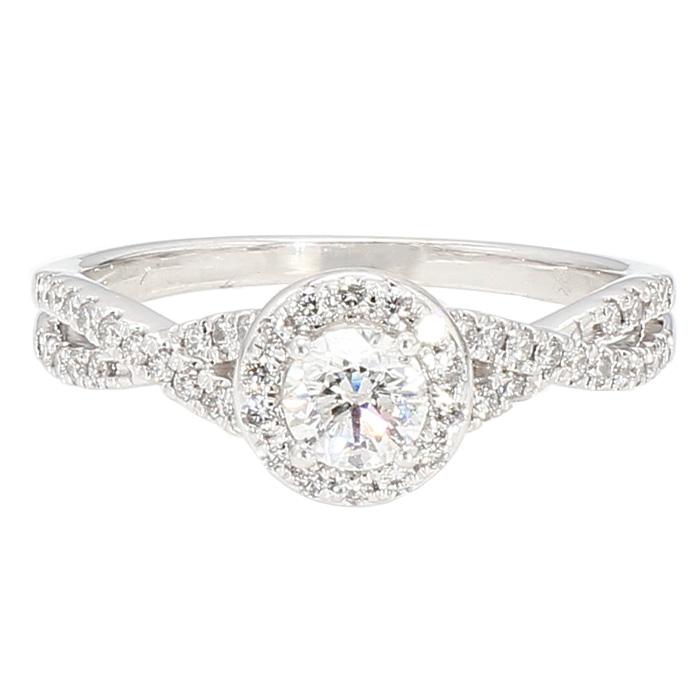"DIAMOND ENGAGEMENT RING- 14K WHITE GOLD| 0.35CT(C)| 1.00CT TDW| SIZE 7.75"""