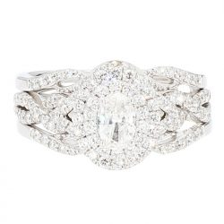 "DIAMOND BRIDAL SET- 14K&10K WHITE GOLD  0.34CT(C)  2.00CT TDW  SIZE 6"""