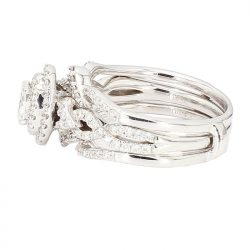 DIAMOND BRIDAL SET- 14K&10K WHITE GOLD| 0.34CT(C)| 2.00CT TDW| SIZE 6""