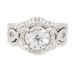 "DIAMOND BRIDAL SET- 14 K WHITE GOLD| 9.8G| 2.50CT TDW| SIZE 5"""