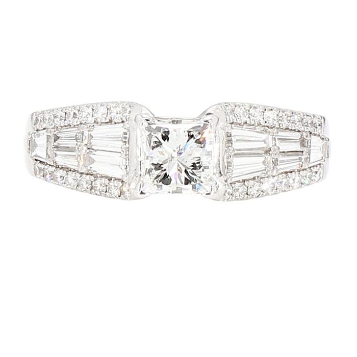 "DIAMOND ENGAGEMENT RING- 14K WHITE GOLD| 9.5G| .075CT(C)| 1.50CT TDW| SIZE 7.25"""