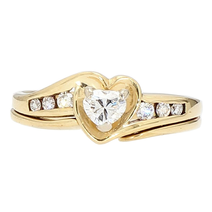 "DIAMOND BRIDAL SET- 14K YELLOW GOLD| 0.45CT TDW| SIZE 6.50"""