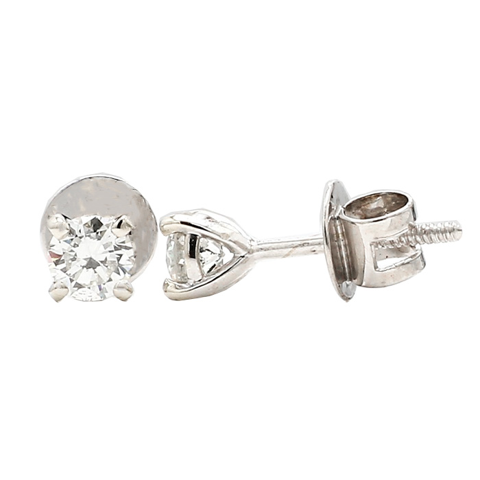 DIAMOND STUD EARRING- 14K GOLD| ROUND CUT 0.78 CT TDW| DIA SIZE 4.6MM EACH