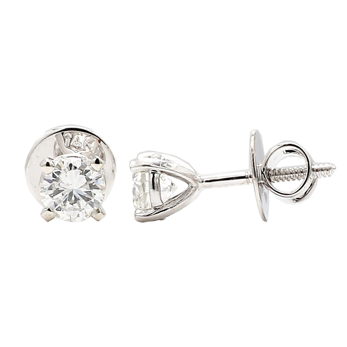 DIAMOND STUD EARRING- 14K GOLD| ROUND CUT 1.22 CT TDW