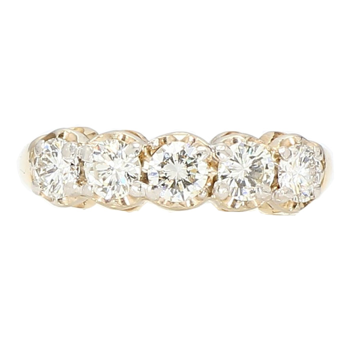 "DIAMOND WEDDING BAND- 14K YELLOW GOLD  1.00CT TDW  SIZE 7"""