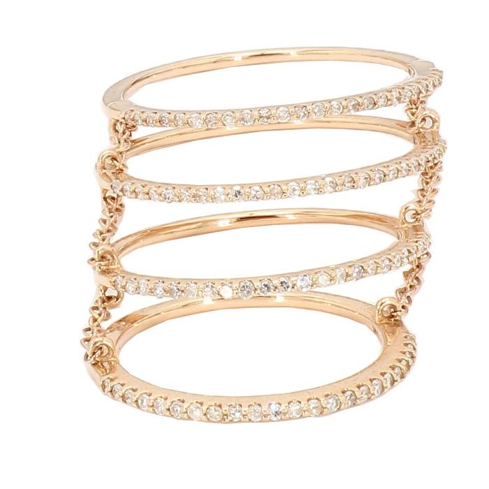 DIAMOND FASHION RING- 14K ROSE GOLD  0.50CT TDW  SIZE 4