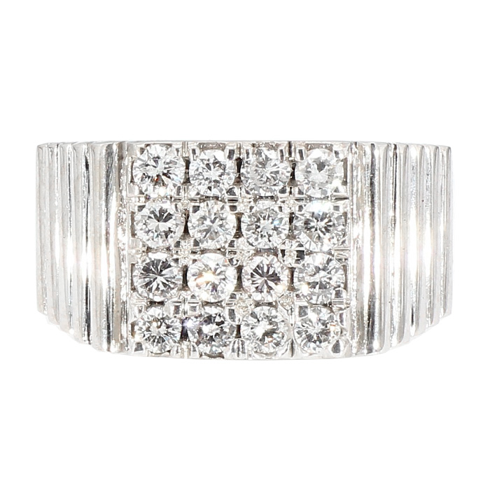 "MENS DIAMOND RING- 14K WHITE GOLD| 15.7G| 1.65CT TDW| SIZE 10.50"""