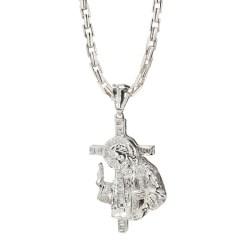 DIAMOND JESUS CROSS PENDANT & LINK CHAIN NECKLACE- 14K WHITE GOLD  114.9G