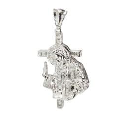 DIAMOND JESUS CROSS PENDANT & LINK CHAIN NECKLACE- 14K WHITE GOLD| 114.9G