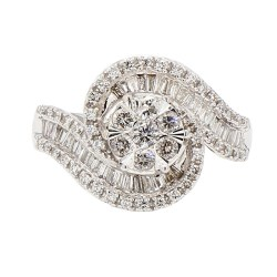 DIAMOND ENGAGEMENT RING- 14K WHITE GOLD| 6.6G| 1.50CT TDW| SIZE 7""