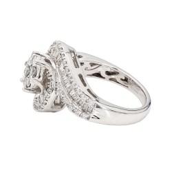 "DIAMOND ENGAGEMENT RING- 14K WHITE GOLD| 6.6G| 1.50CT TDW| SIZE 7"""