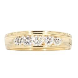 "MENS DIAMOND WEDDING BAND- 14K YELLOW GOLD  9.5G  1.00CT TDW  SIZE 13.25"""