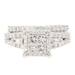 "DIAMOND BRIDAL SET- 14K WHITE GOLD| 6.8G| 2.00CT TDW| SIZE 7"""