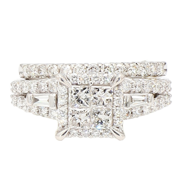 DIAMOND BRIDAL SET- 14K WHITE GOLD| 6.8G| 2.00CT TDW| SIZE 7""