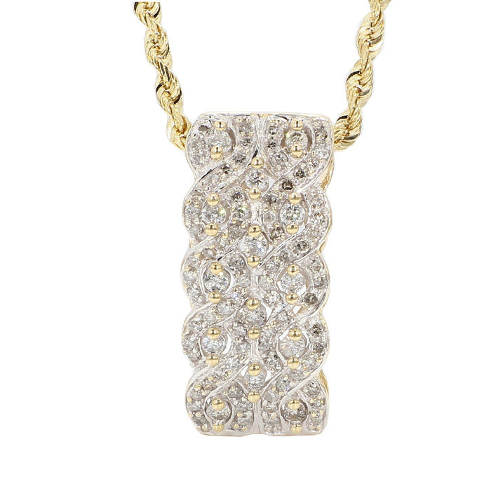 """DIAMOND PENDANT WITH ROPE NECKLACE- 14K YELLOW GOLD