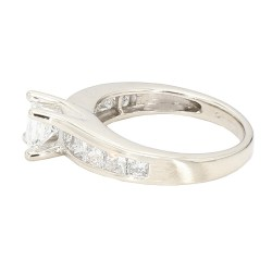 "DIAMOND ENGAGEMENT RING- 14K WHITE GOLD| 0.65CT(C)| 1.75CT TDW| SIZE 7"""