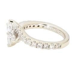 "DIAMOND ENGAGEMENT RING- 14K WHITE GOLD  1.75CT TDW  SIZE 7"""