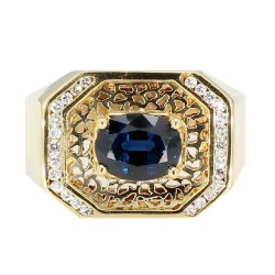"""BLUE SAPPHIRE RING- 18K YELLOW GOLD
