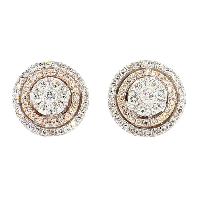 ROUND DIAMOND CLUSTER STUD EARRINGS- 10K GOLD| 0.55CT TDW
