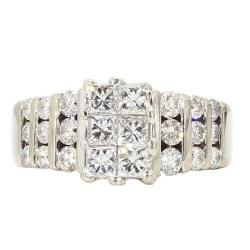 "DIAMOND ENGAGEMENT RING- 14K GOLD  2.00CT TDW  SIZE 8.25"""