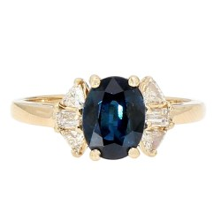 """BLUE SAPPHIRE RING- 14K YELLOW GOLD  SIZE 6.25"""""""