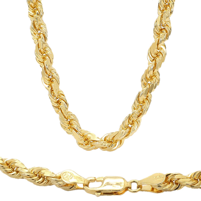 DIAMOND CUT ROPE NECKLACE- 10K YELLOW GOLD| 42.5G| LENGTH 26"